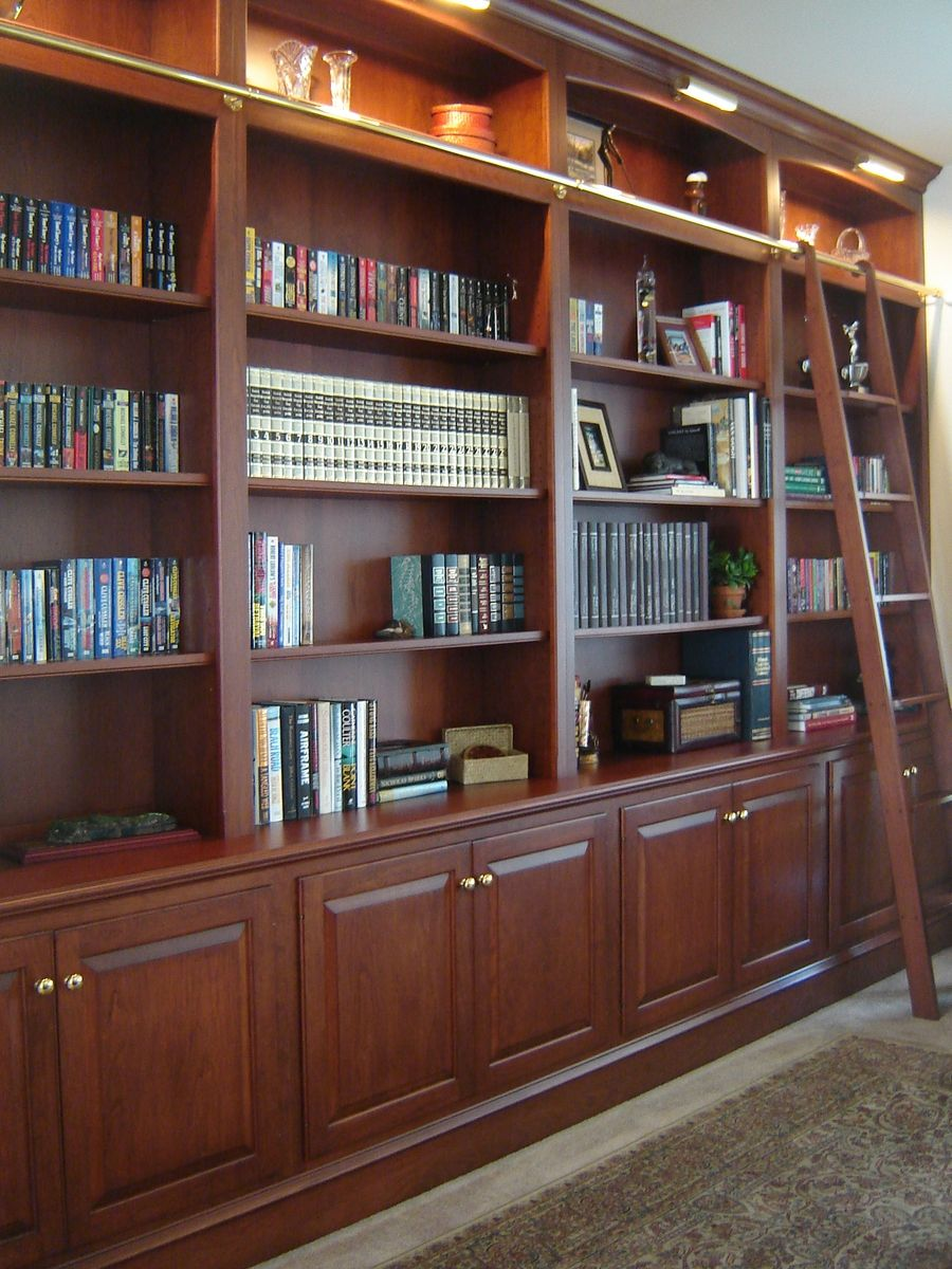 Custom Made Bookcase Wall With Ladder by Odhner  Odhner