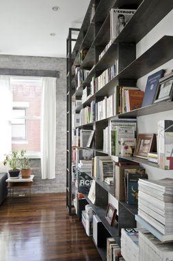Handmade Minimal BlackenedSteel Bookshelves With Rolling