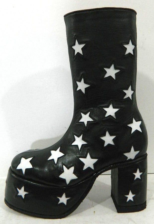 Custom Made Glam Rock Era Platform Boots With Stars All Over Made To Order To Your Size by