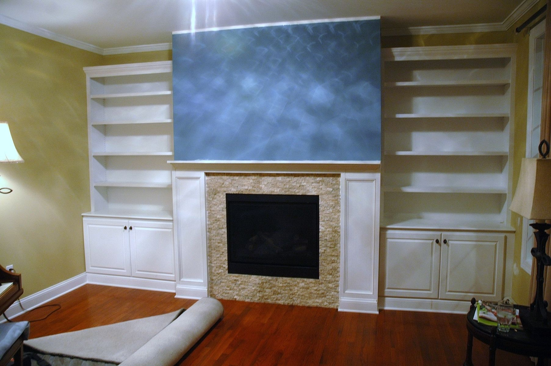 Handmade BuiltIn Bookcases Base Cabinets And Fireplace