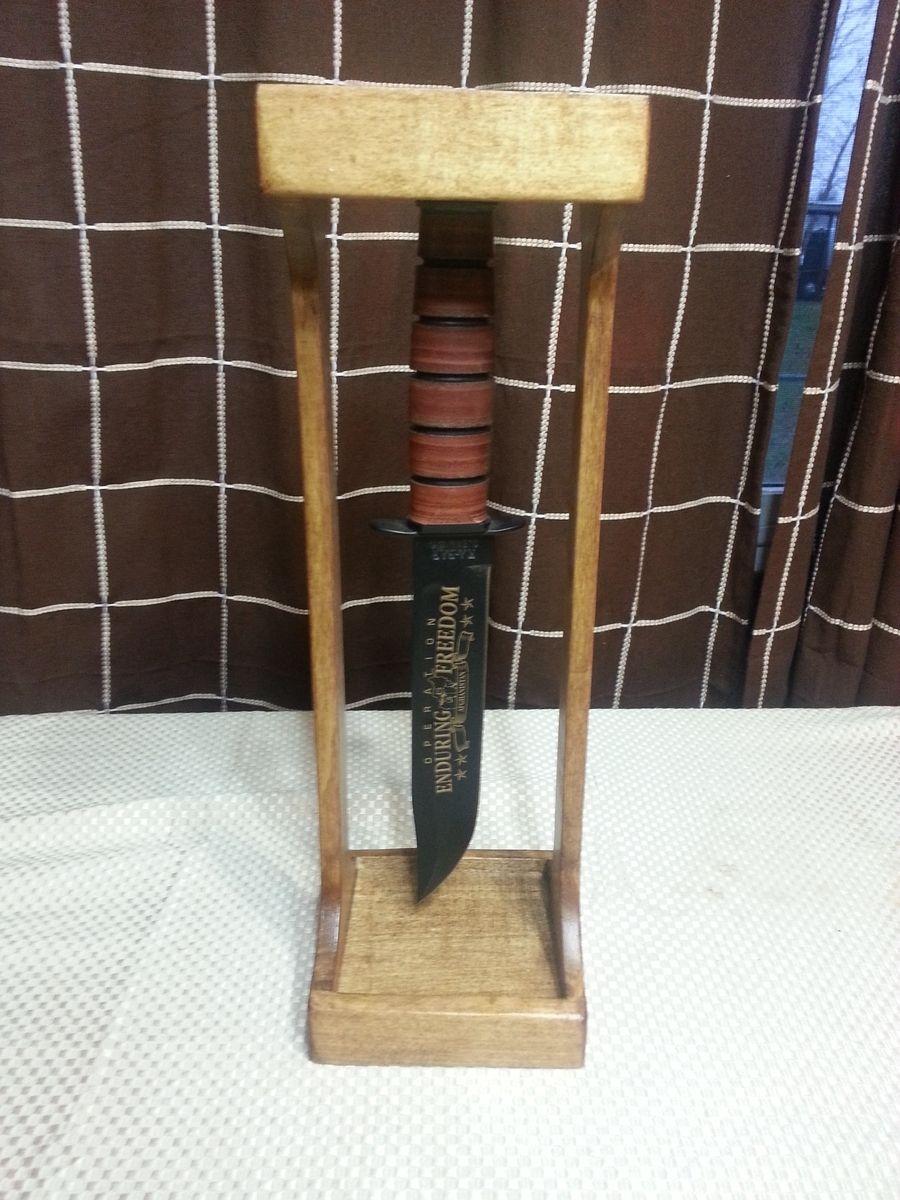 Custom Made Handmade Kabar Fighting Knife Display by
