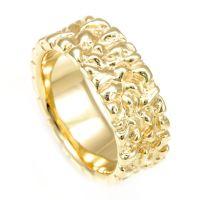 Buy a Handmade Nugget Men's Ring In 14k Yellow Gold, Men's ...