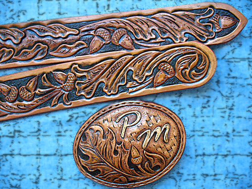 Buy A Hand Made Tooled Gun Belt Personalized Pm Oak Leaves Acorns Hand Carved Made To Order