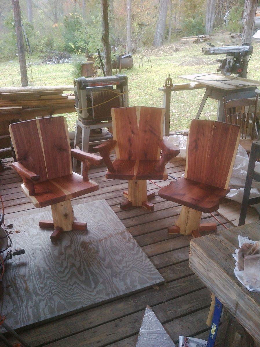 Hand Made Cedar Slab Chairs By Indian Creek Farm