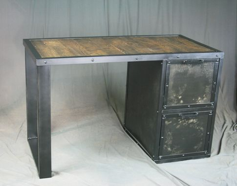 Buy a Custom Made Vintage Industrial Desk With File