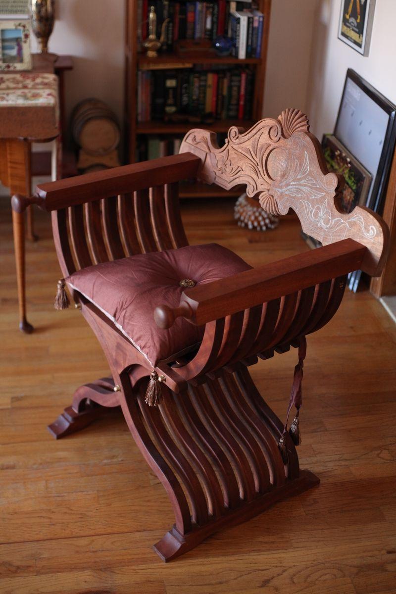 Hand Crafted Savonarola Chair Aka X Chair Scissor Chair