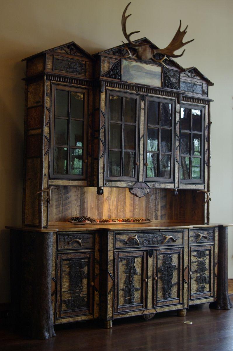Custom Made Adirondack Rustic BuffetHutch Cabinet by L