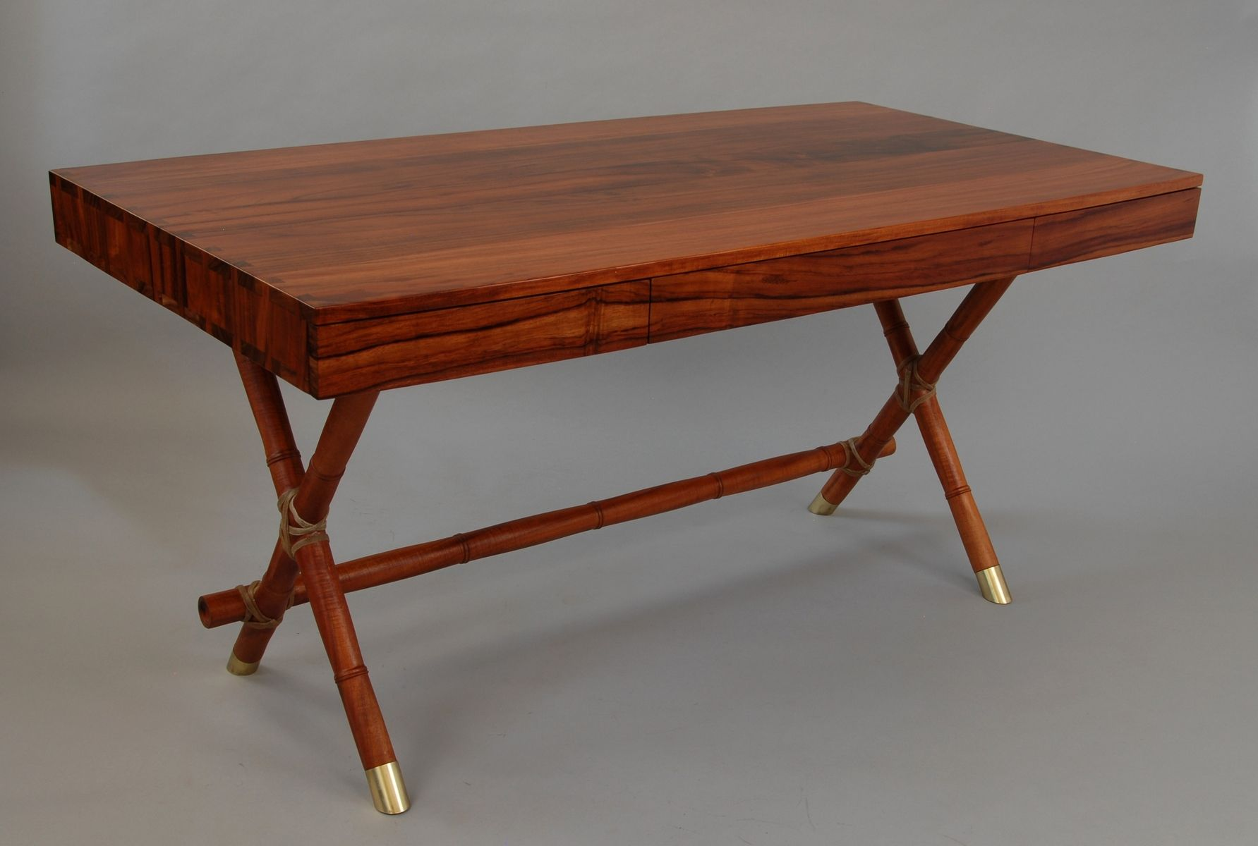 Hand Made California Walnut Bamboo Campaign Desk by