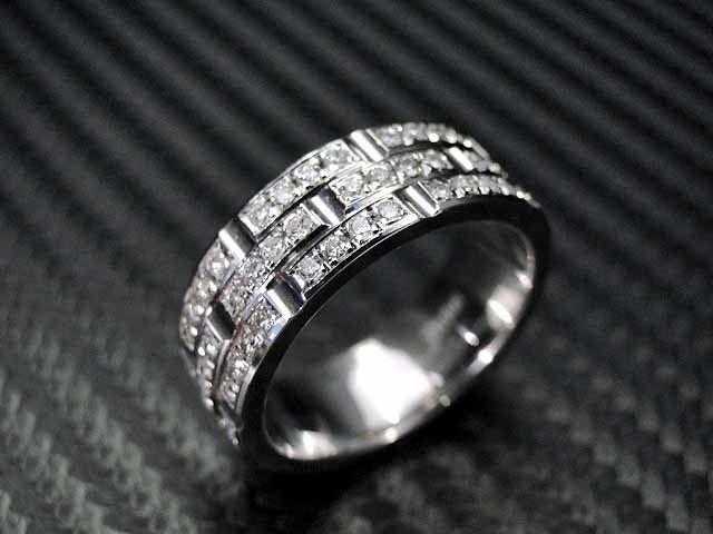 custom made 14k white gold mens diamond wedding band engagement ring