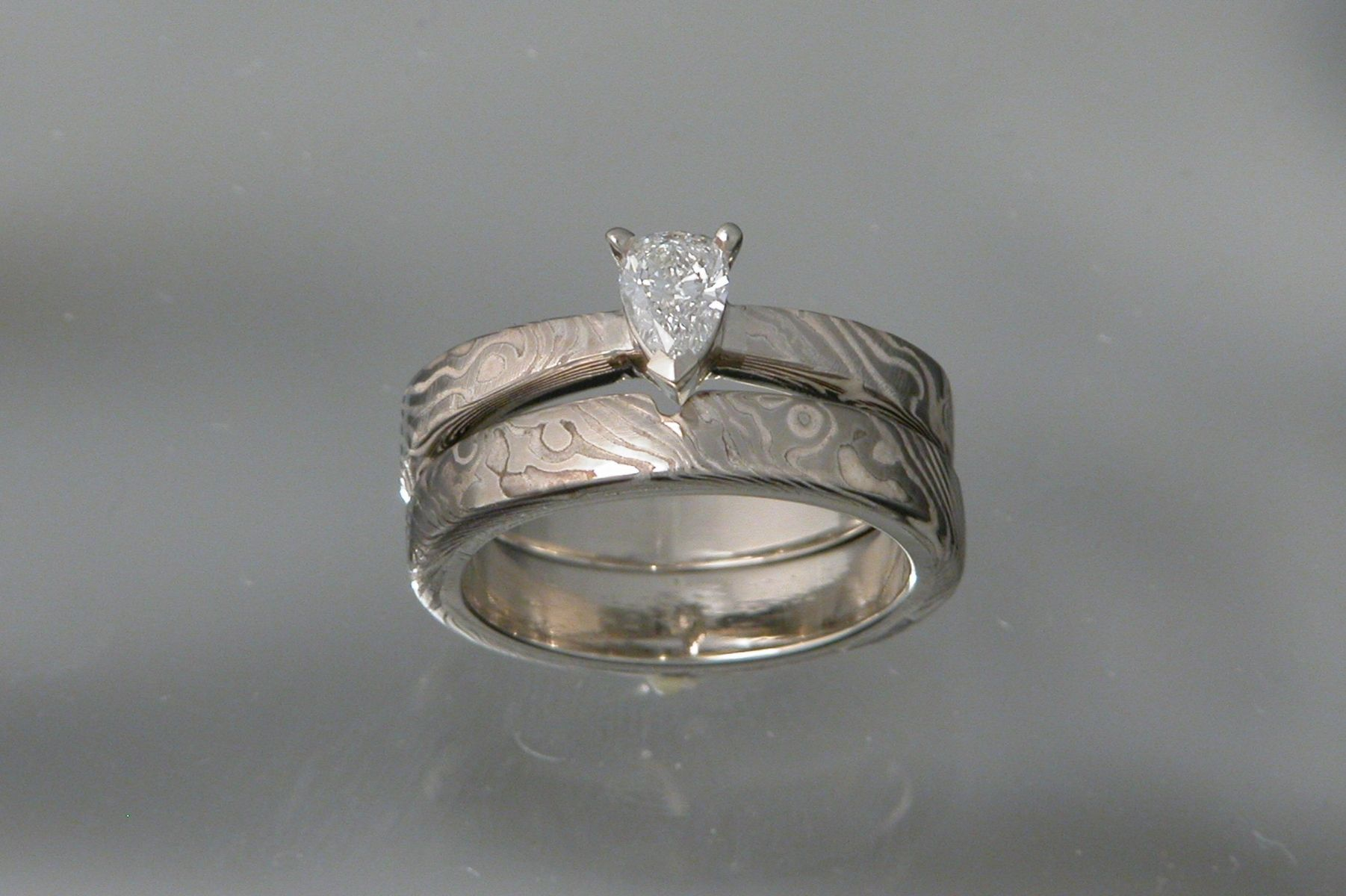 Custom Made 14kt Palladium White Gold Mokume Gane Wedding