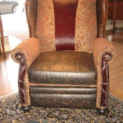 Leather Chair Cushions Electronic Wheel Handmade Unique Furniture, Recliner With Tooled And Burgundy Hair On Hide Accents By Ttt ...