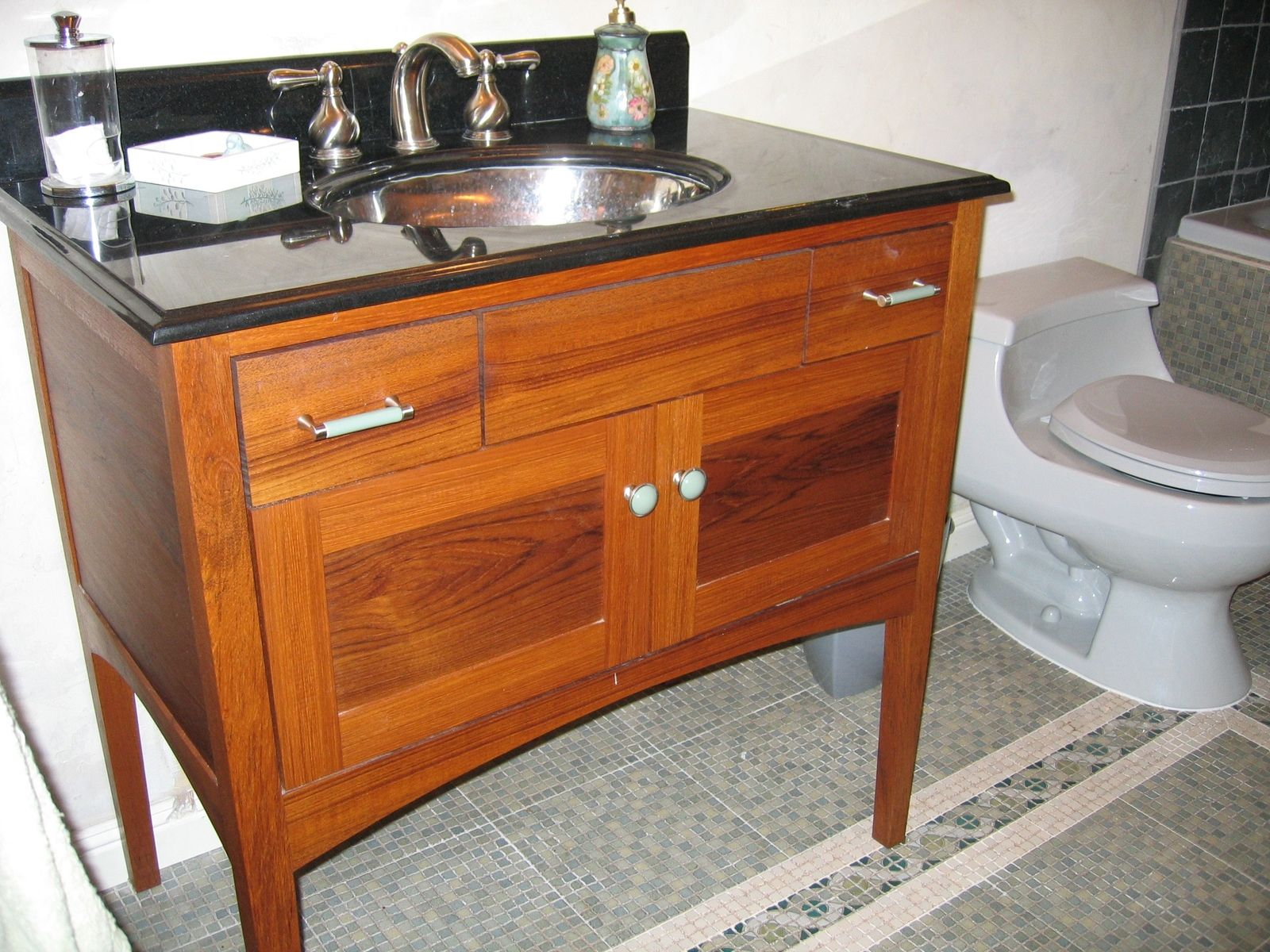 Hand Crafted Custom Teak FurnitureStyle Bathroom Vanity