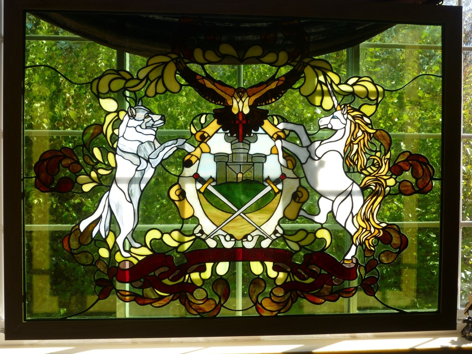 Handmade Family Coat Of Arms In Stained Glass By The Last