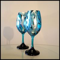 Hand Crafted Blue, Silver, And Black Abstract Design