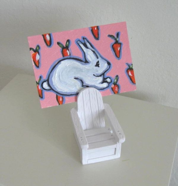 Handmade Aceo, Bunny Rabbit Adirondack Chair Place Card Holder by Brooke Howie Paintings ...