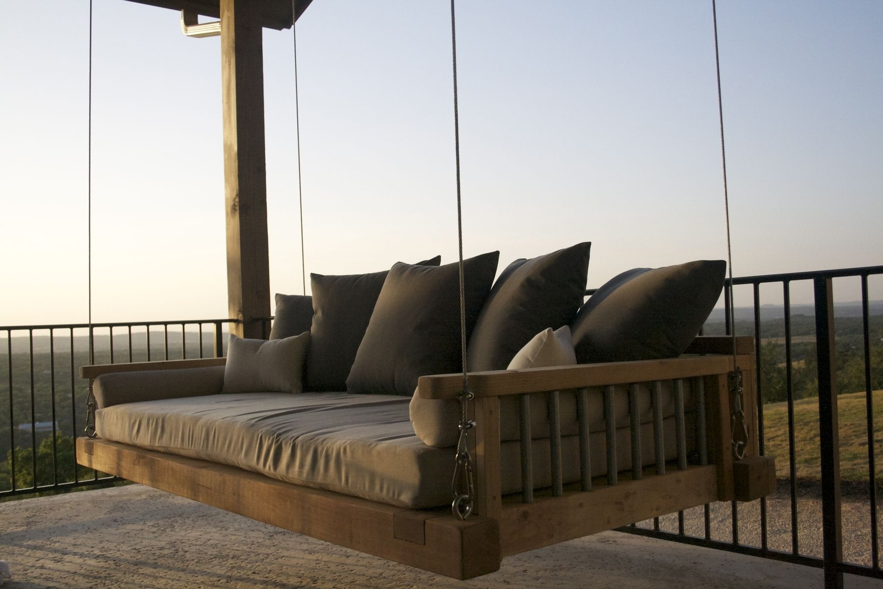 Hand Crafted Cedar Swing Bed Suspended By Galvanized Cable