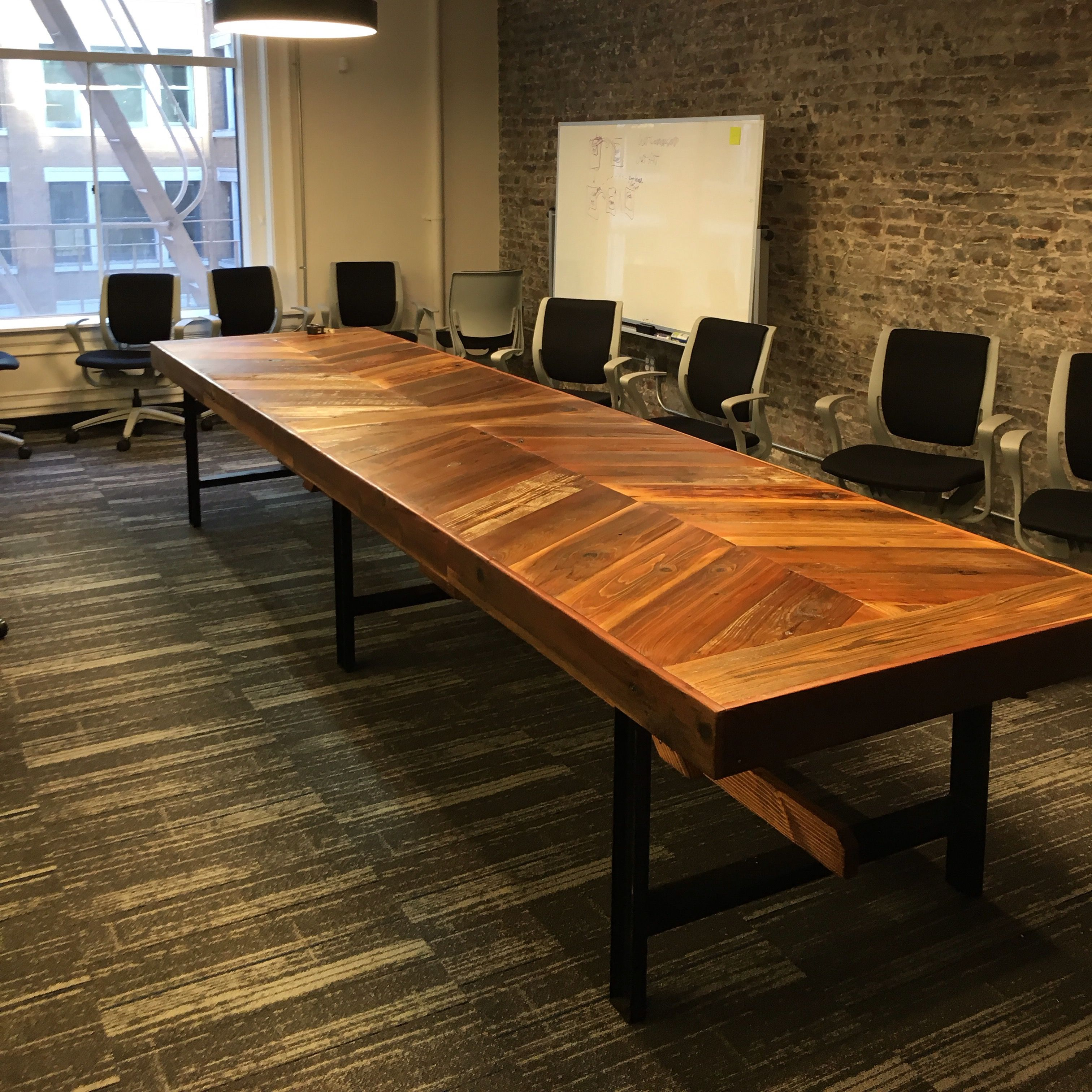 used conference table chairs posture chair sitting hand crafted reclaimed wood chevron by