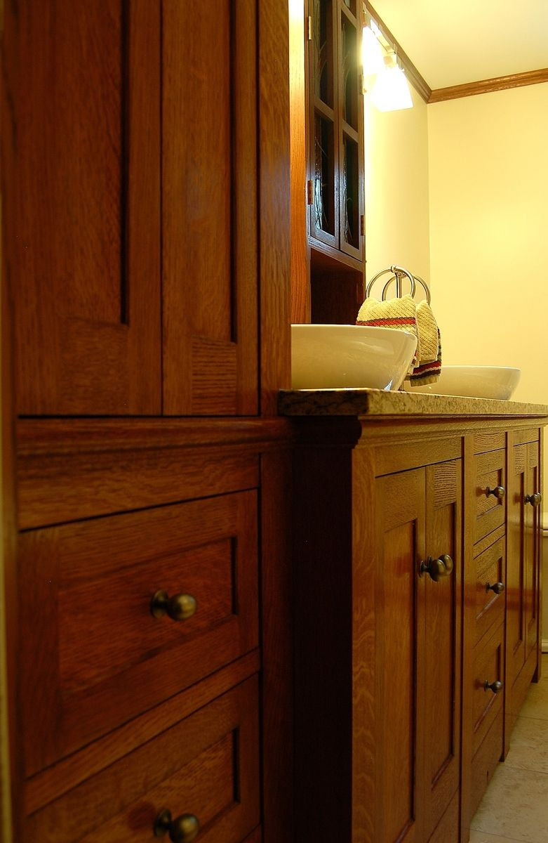 Hand Made Custom Quartersawn Oak Bathroom by Golden Rule Designs  CustomMadecom