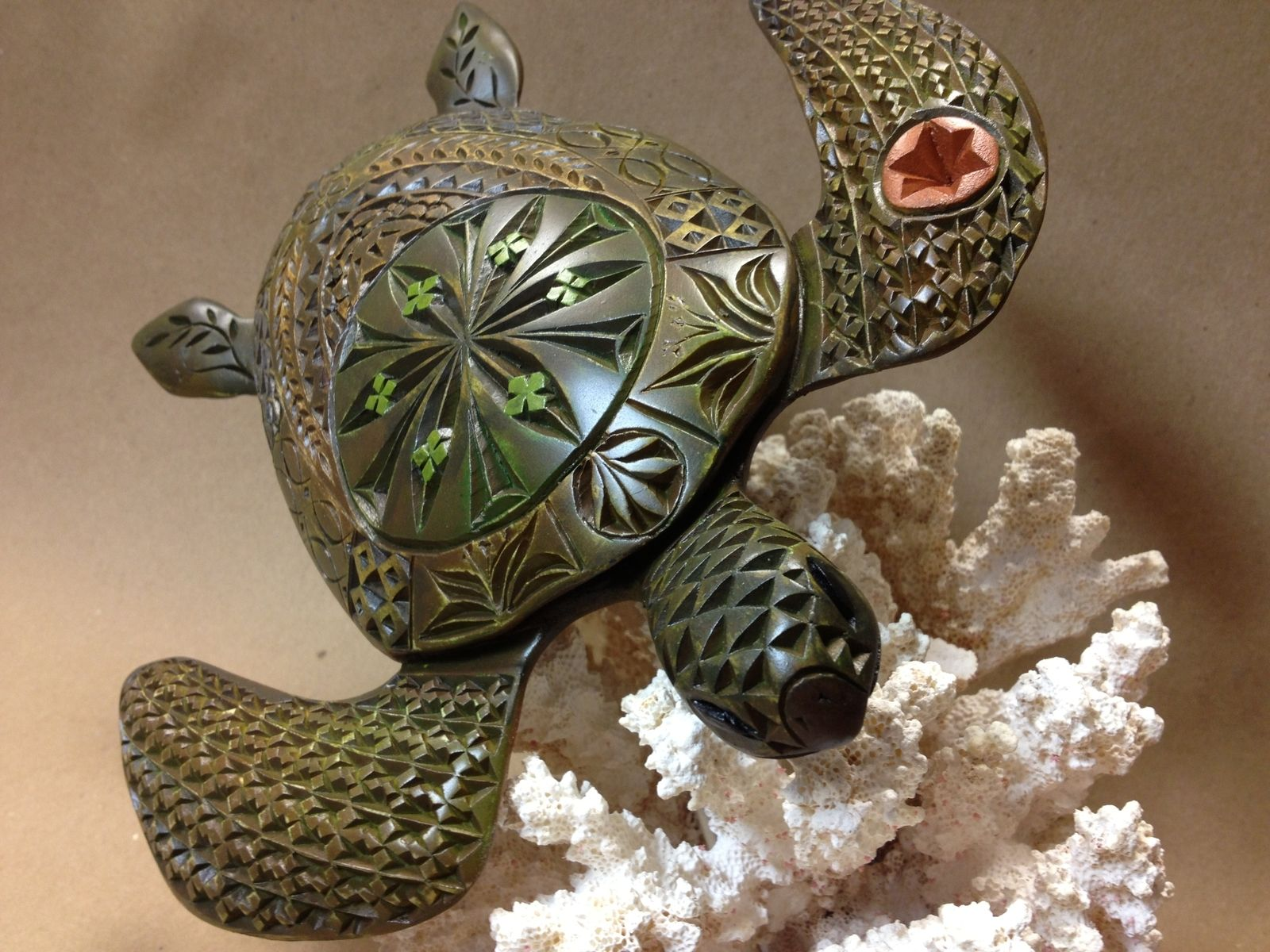 Handmade Hand Carved Wooden Green Sea Turtle By Carolina