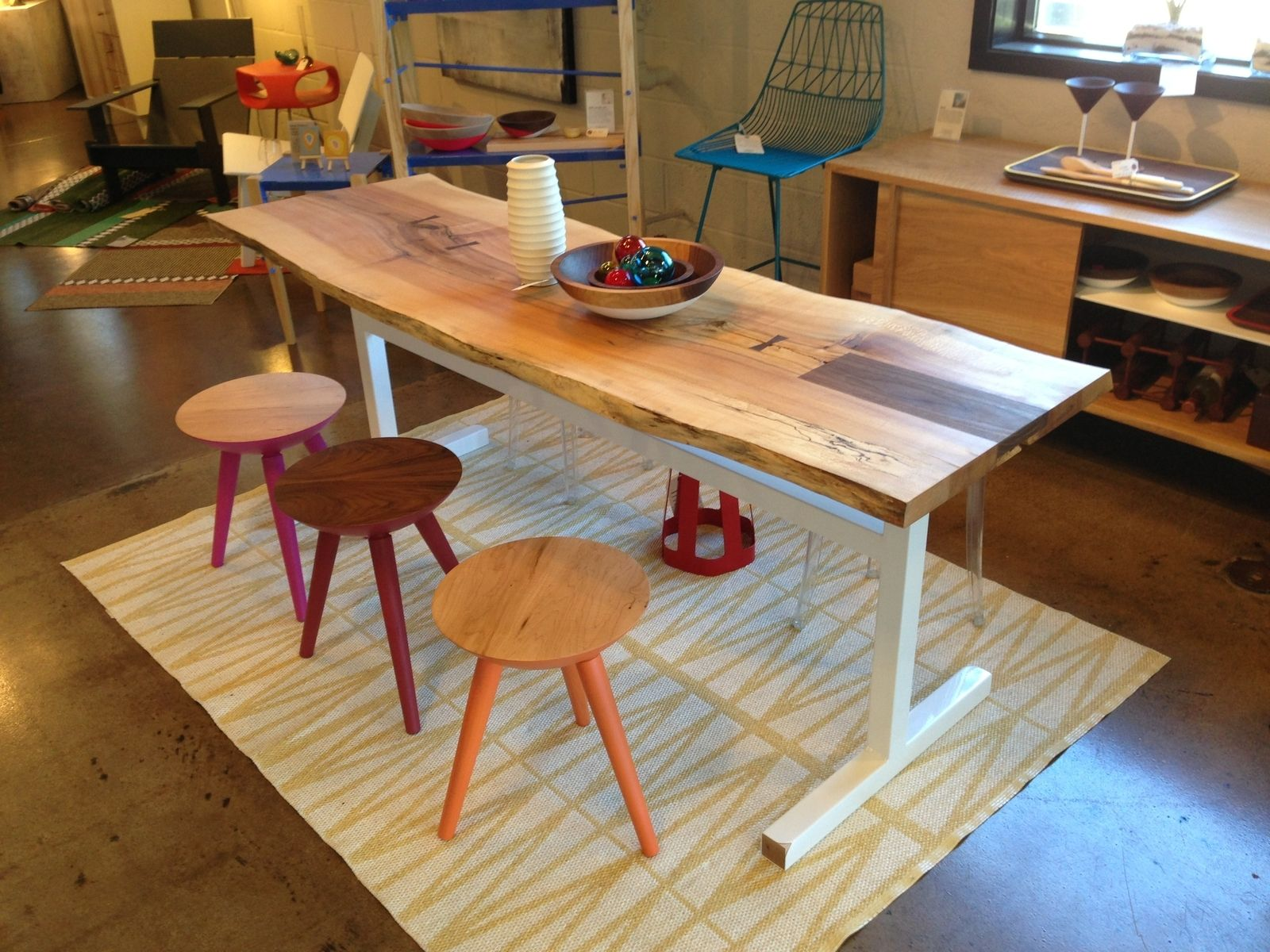 Hand Made Natural Live Edge Dining Table / Spalted Maple