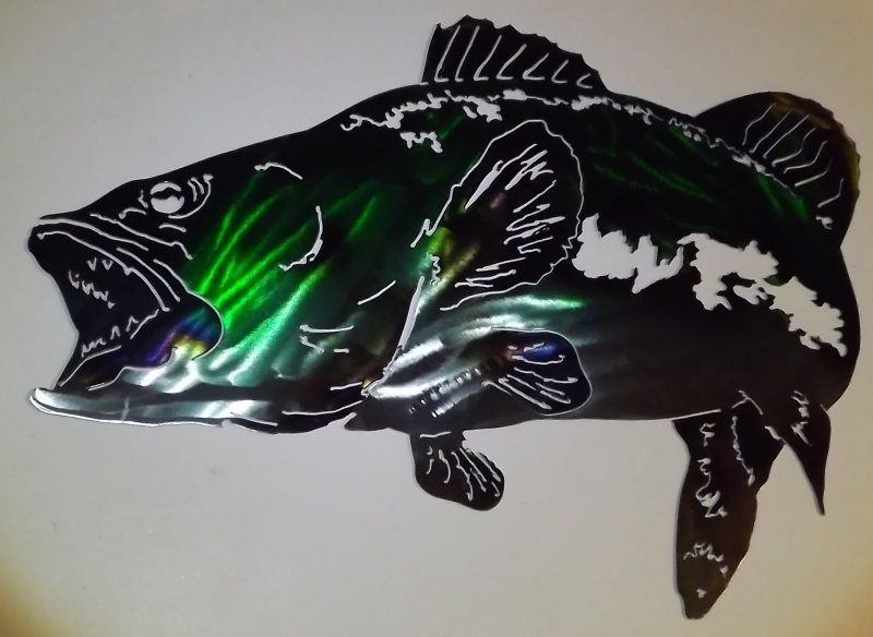 Hand Crafted Bass Metal Wall Art Sculpture By Superior