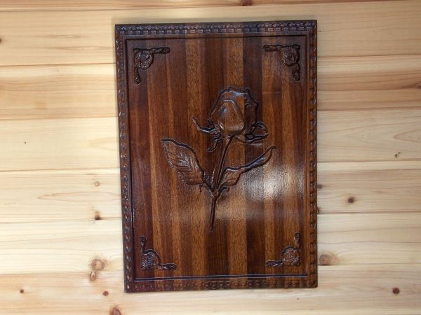 Custom Rustic Wood Rose Wall Hanging 3d Relief Carving