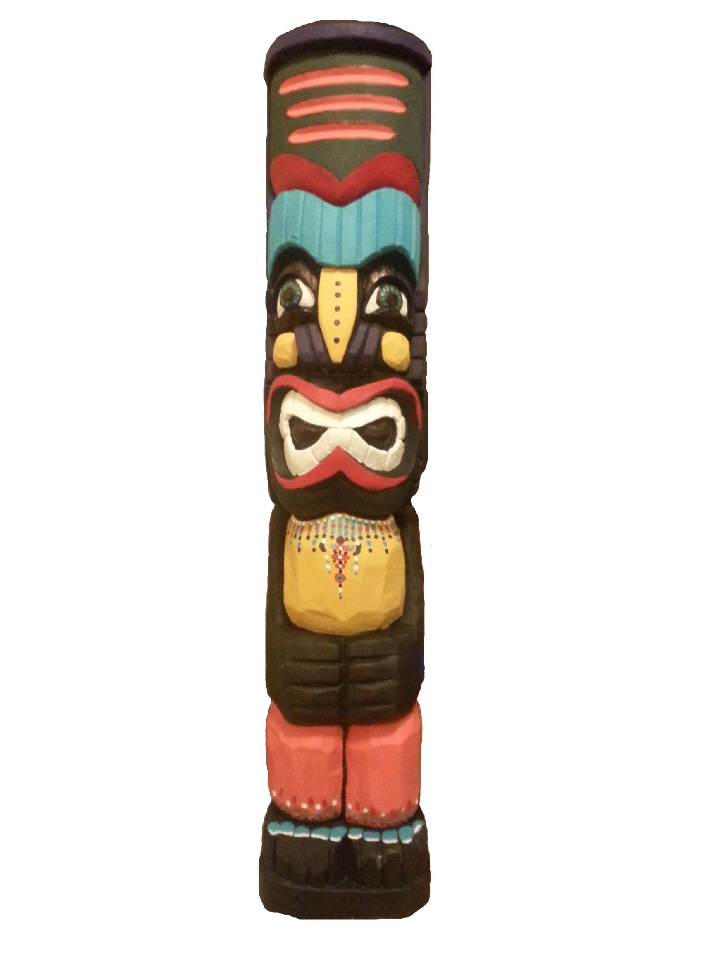 Hand Crafted Hand Painted Totem Pole Lawn Art Statue By Mr