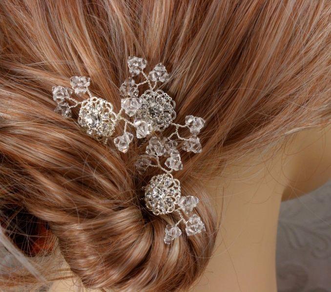 crystal baby's breath - bridal hair combs - wedding hair pins - swarovski silver filigree accents