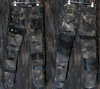 Hand Crafted Custom Pants Rock Metal Punk Stage Rockstar Leather Denim by Kylla Custom Rock Wear