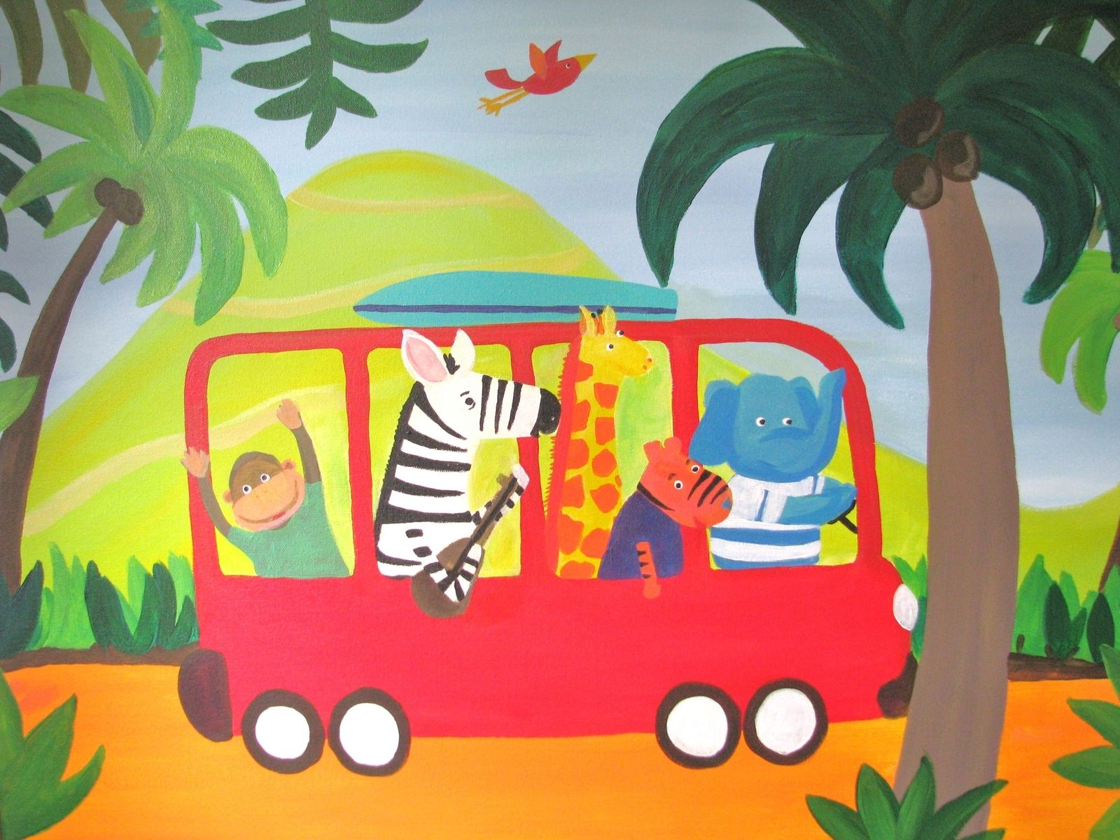 Hand Made Original Acrylic Painting For Childrens Nursery