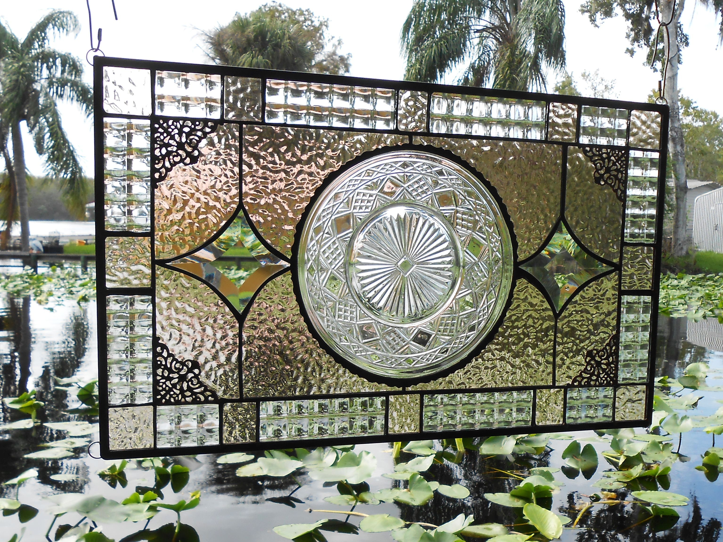 Buy Hand Made Recycled Depression Glass Imperial Stained Glass Window Panel Antique Stained Glass Transom Window Made To Order From Artfulfolk Stained Glass Custommade Com