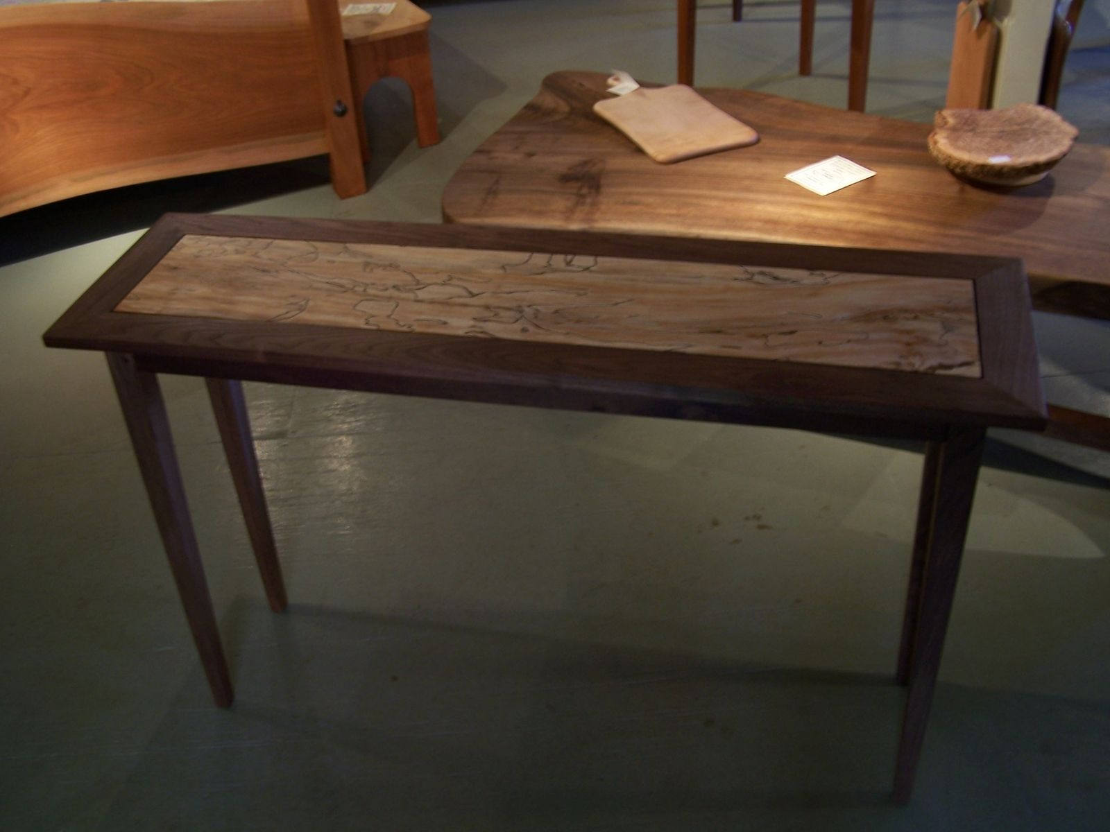 custom made sofa tables leather orange county ca handmade spalted maple and black walnut hall table by