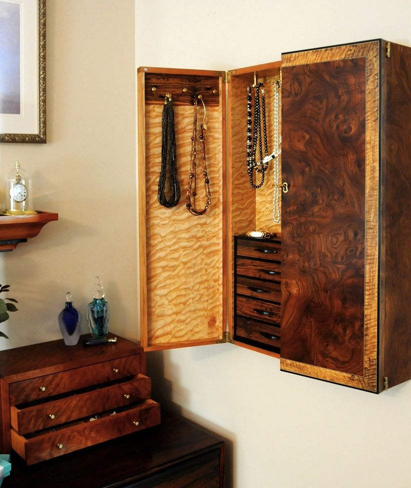 Custom Wall Mounted Jewelry Cabinet by Heller And Heller