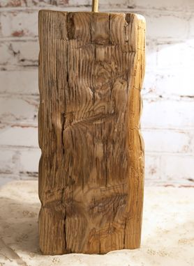 Hand Crafted Barn Beam Lamp Pair Rustic Country Accent
