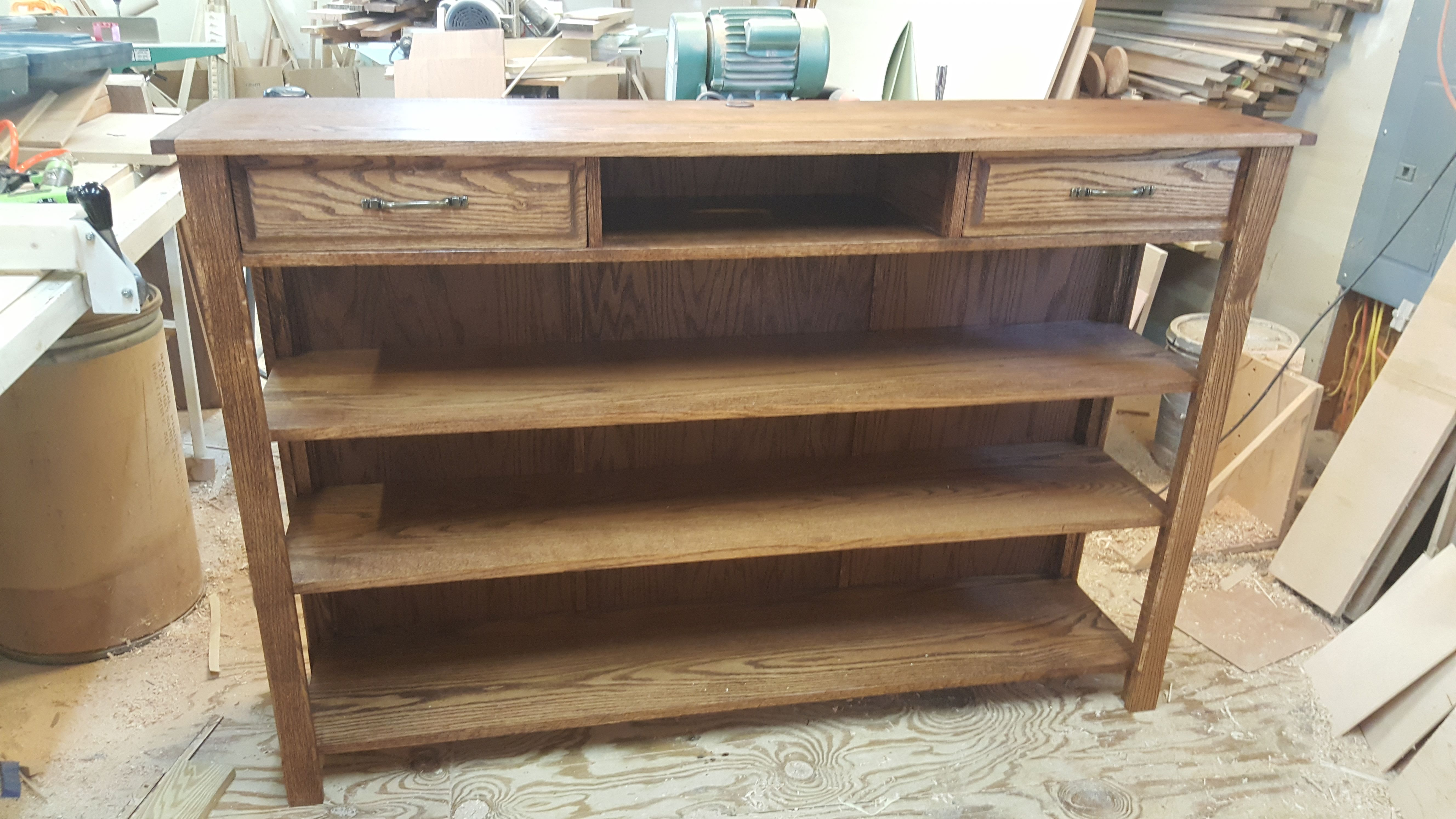 Hand Made Oak Tv Stand Bookcase Combination By Starkwood