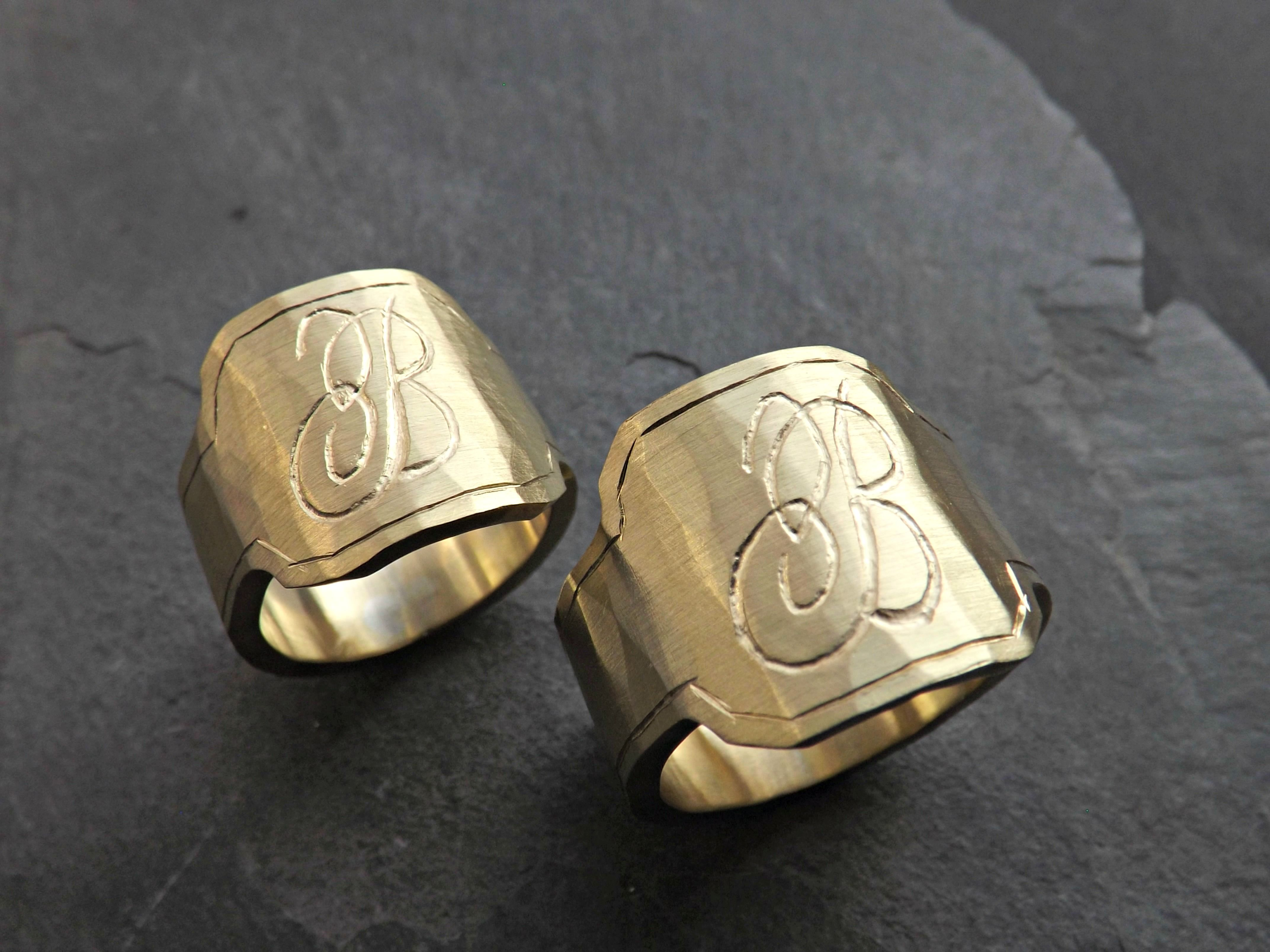 Buy a Hand Crafted Mens Signet Ring Brass Engraved