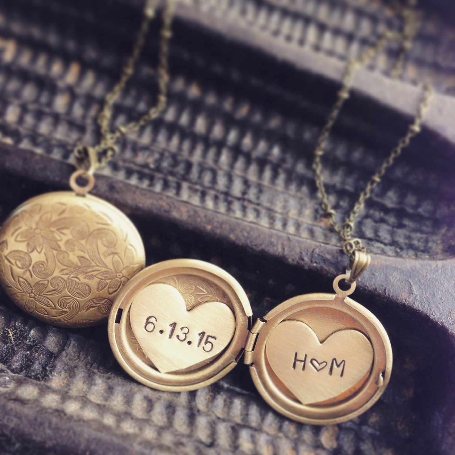 initials and date locket