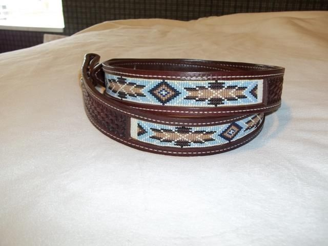 Handmade Leather Beaded Belts By Bear River Custom Leather