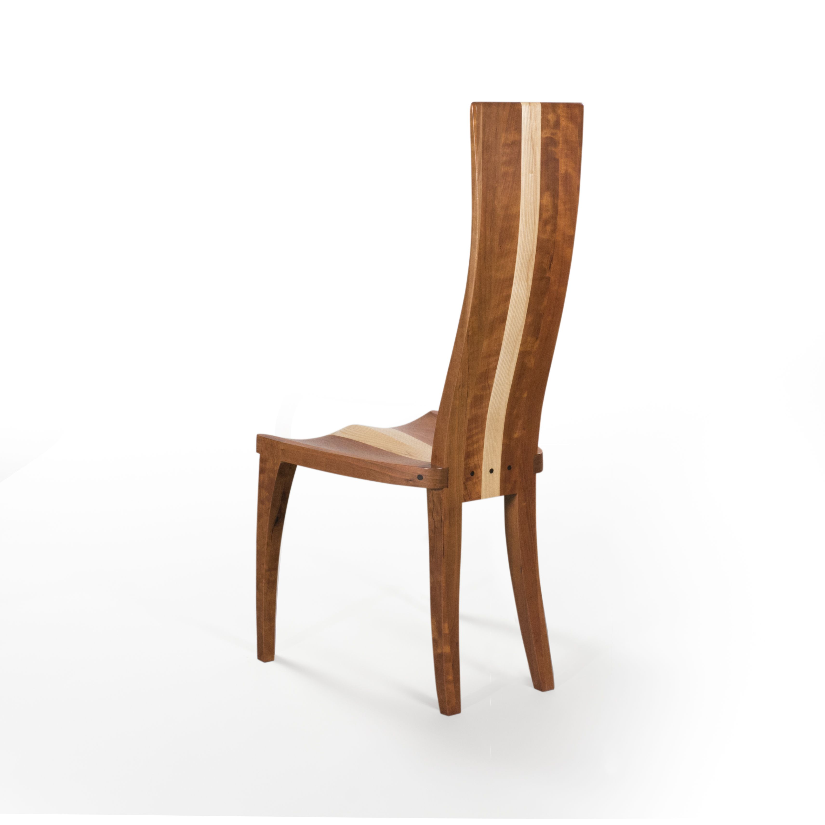 Handmade Modern Wood Dining Chair In Cherry And Curly