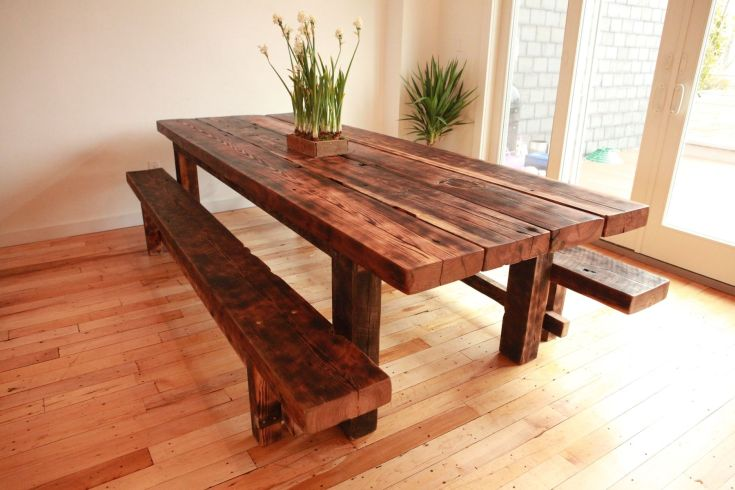 handmade custom farmhouse dining table and benches for