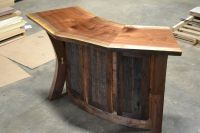 Hand Crafted Live Edge Walnut And Reclaimed Curved Bar ...