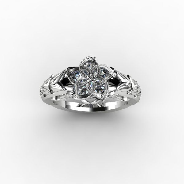 floral ring with moissanite