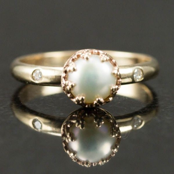 Hand 14k Gold Pearl Ring - Engagement Wired Jewelry Design