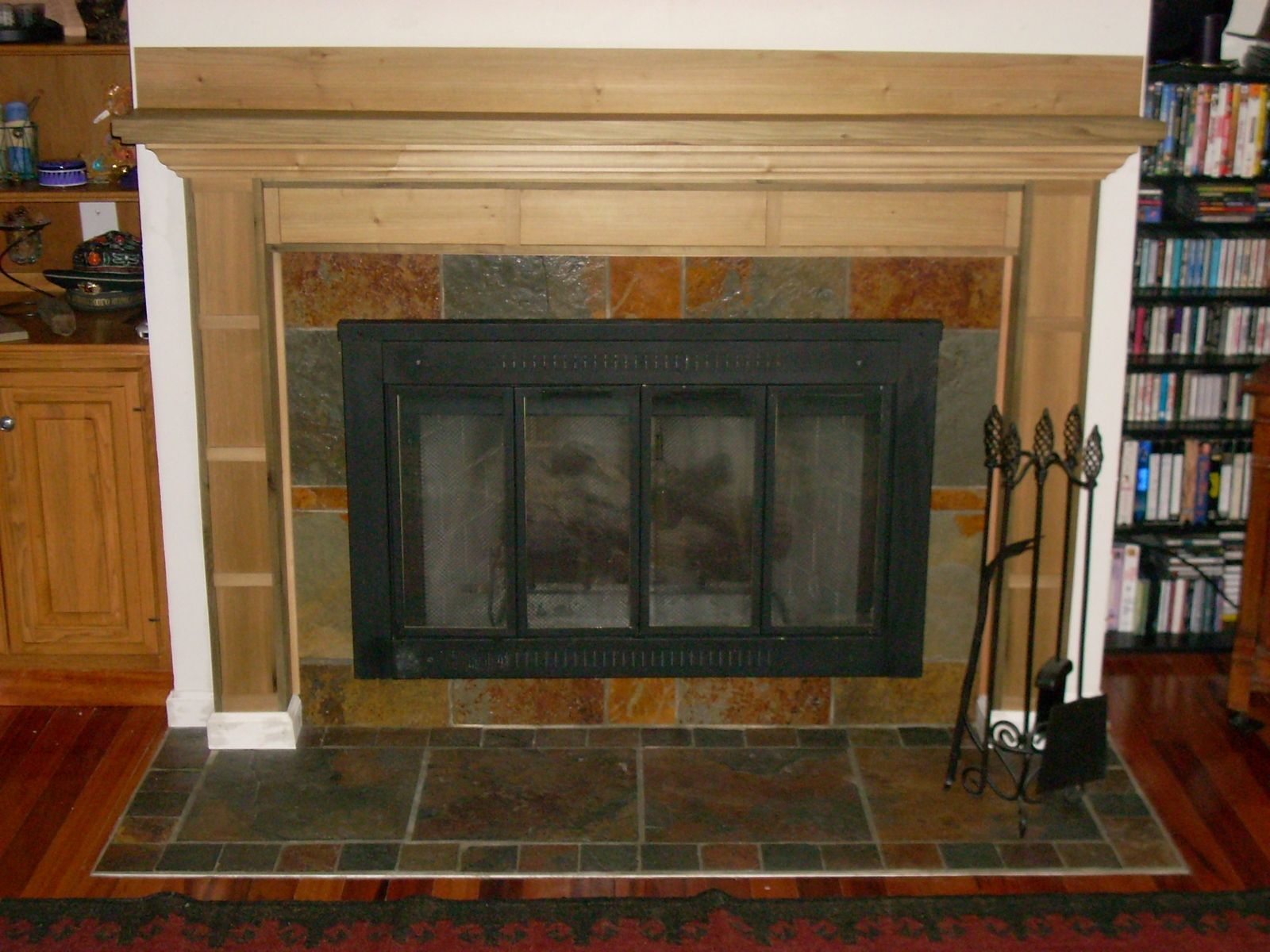 Hand Made Poplar Mantel With Slate SurroundHearth by