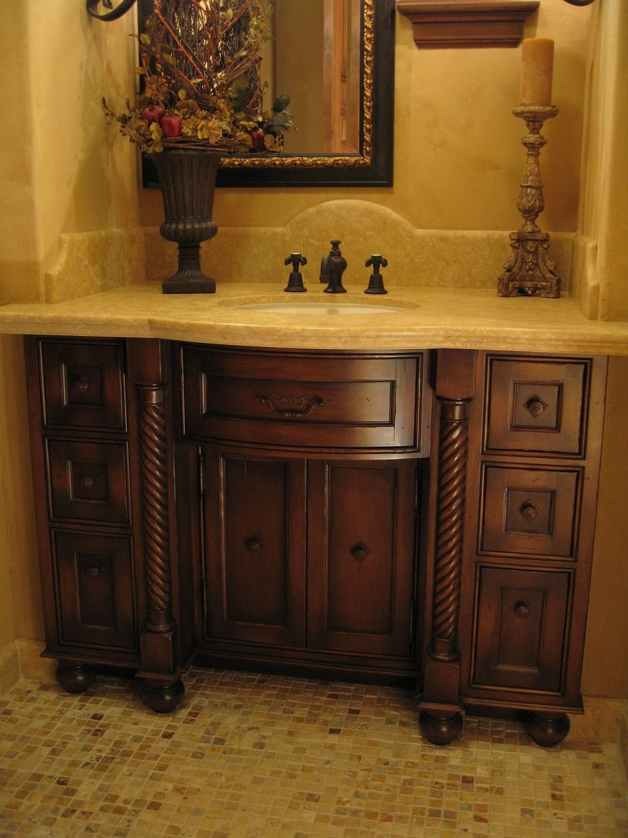Hand Made Custom Distressed Alder Bow Front Bathroom Vanity by Ps Woodworking  CustomMadecom