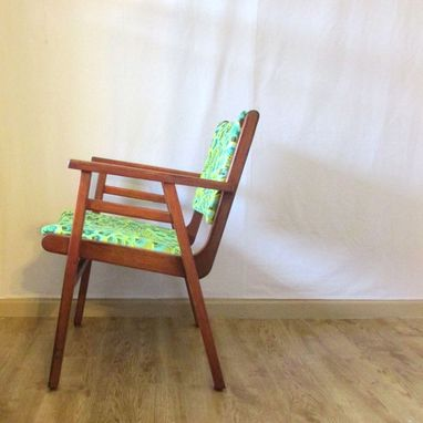 Custom Made Refinished Vintage Teak Chair In Sea Green
