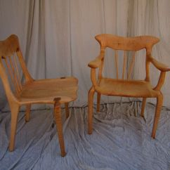 Tiger Oak Dining Chairs Retro Leather Office Chair Hand Made Curly Maple Lyre Set By Bearkat Wood | Custommade.com
