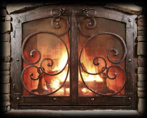 Handmade Custom Fireplace ScreenBlack Copper
