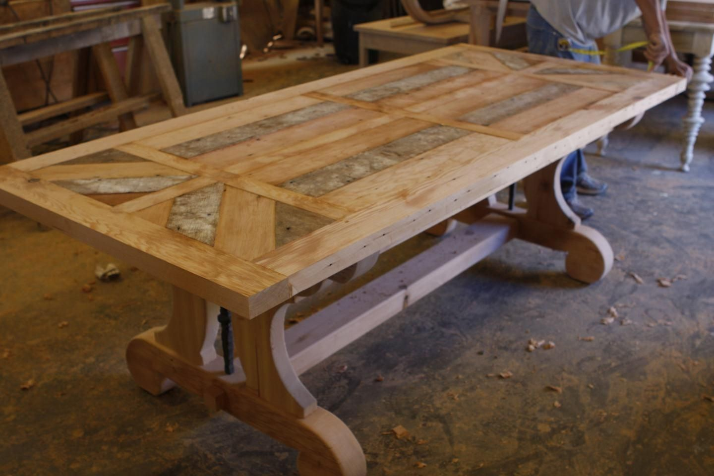 built in kitchen table gold faucet hand crafted custom trestle dining with leaf extensions made reclaimed wood