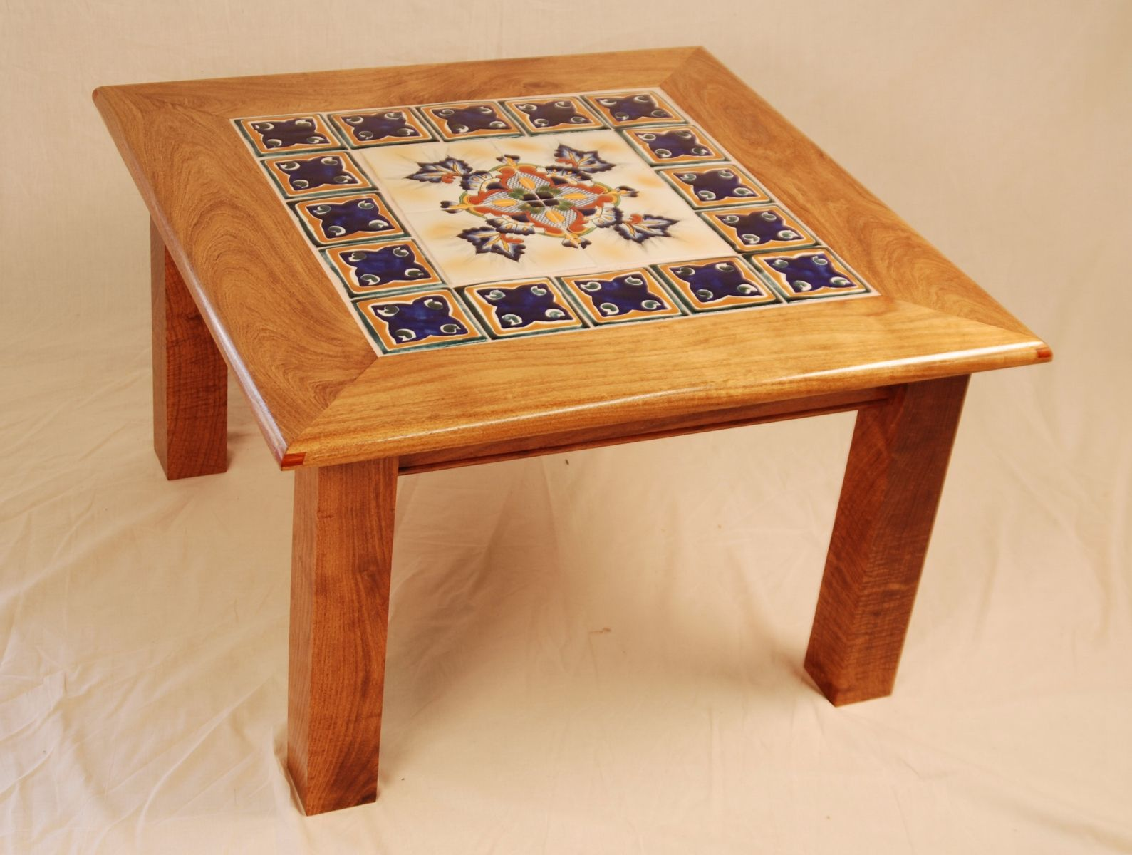 custom made mesquite blue tile table by